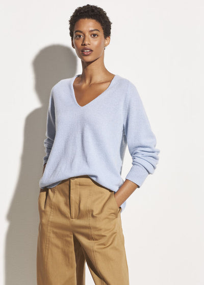 Vince - Marled V Neck Sweater in Powder Blue