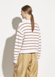 Vince - Striped Waffle Stitch Crew in Optic White/Dune