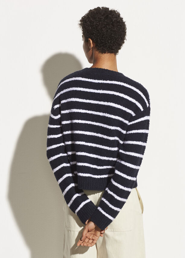 Vince - Striped Waffle Stitch Crew Sweater in Coastal/Optic White