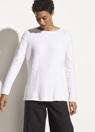 Vince - Texture Rib Tunic in Optic White