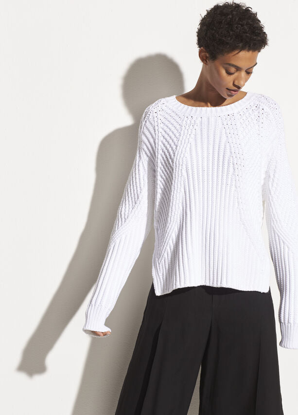 Vince - Mixed Rib Crew Sweater in Optic White