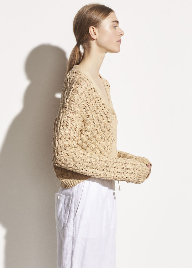 Vince - Open Cable Cardigan in Vanilla