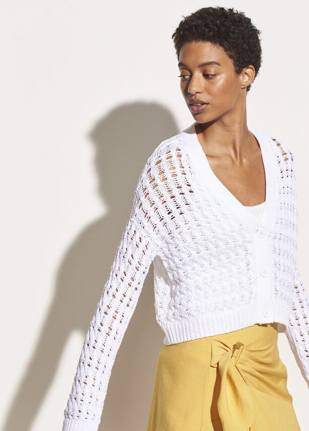 Vince - Open Cable Cardigan in Optic White