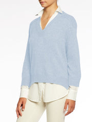 BROCHU WALKER - V Neck Layered Pullover in Skye with White Underlayer