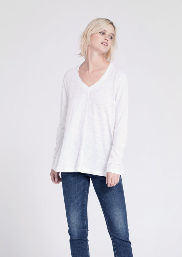 Wilt Long Sleeve Raw Hem Trapeze Top