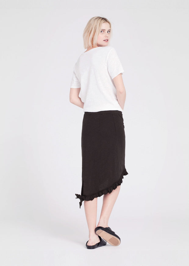 Wilt Raw Hem Ruffle Skirt Black