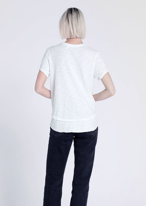 WILT - Short Sleeve Mock Layer Tee in White