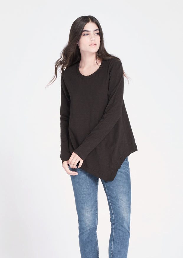 WILT - Slant Hem Tunic Crew Long Sleeve Black