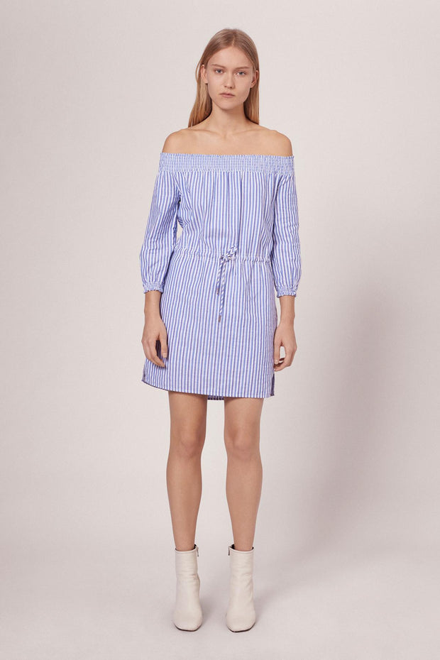 Rag & Bone R&B - STRIPE DREW DRESS W272D40DU BLUE/WHT STP 961 at Blond Genius - 1