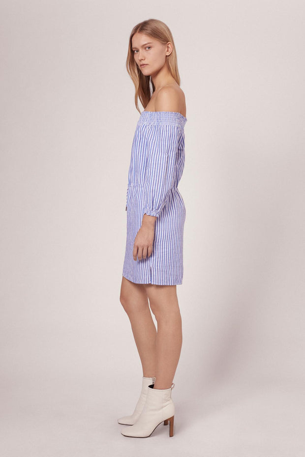 Rag & Bone R&B - STRIPE DREW DRESS W272D40DU BLUE/WHT STP 961 at Blond Genius - 2