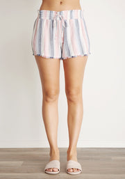 Bella Dahl - Fray Hem Flowy Short Ombre Horizon Stripe