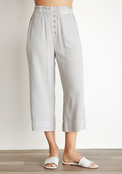 Bella Dahl - Button Front Crop Pant in Grey Dawn
