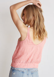 Bella Dahl - Tie Waist Button Front Tank Red Coral