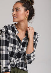 BELLA DAHL - Long Sleeve Frayed Ruffle Button Down in Highland Peak