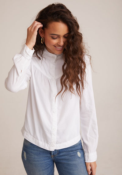 BELLA DAHL - Button Front Prairie Shirt in White