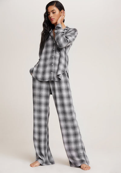 Bella Dahl - Sleep Shirt + Wide Leg Pant Set in White