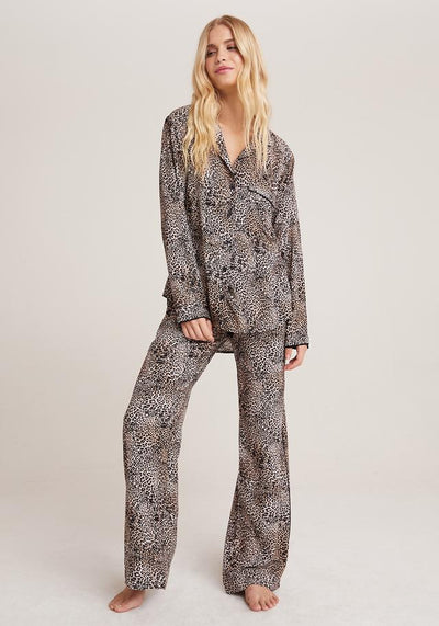 Bella Dahl - Sleep Shirt + Wide Leg Pant Set in Golden Leopard