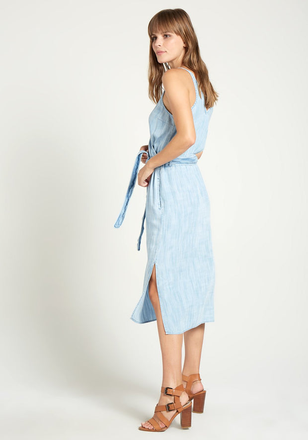 Bella Dahl - Cross Front Midi Dress in Del Sol Wash