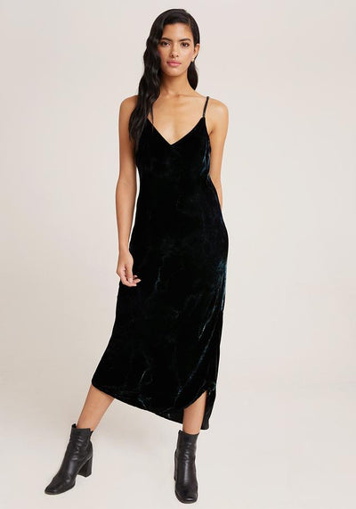 Bella Dahl - Bias Slip Dress in Midnight Emerald Velvet