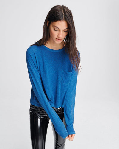 Rag & Bone - The Cropped Longsleeve in Blue Paradise