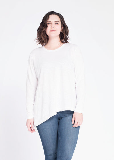 WILT- Asymmetrical Slouchy Tunic in White