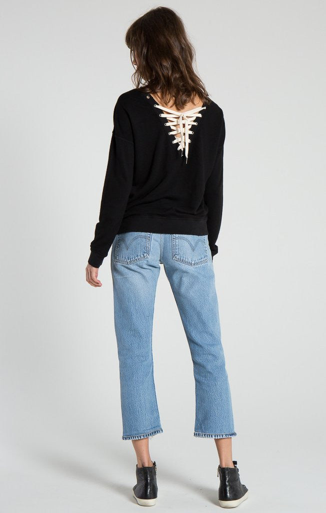 n:Philanthropy - Kali Lace Back Sweatshirt Black Cat