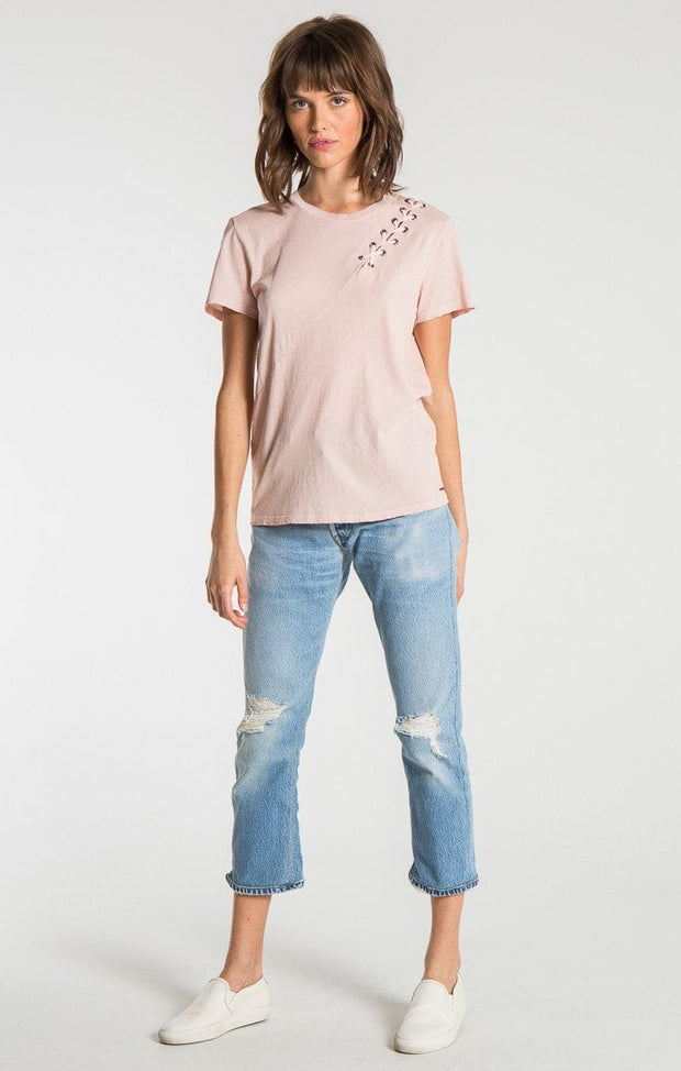 n:Philanthropy - Gaia Short Sleeve With Lacing Detail Rose
