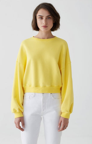 AGOLDE - Balloon Sleeve Cropped Sweatshirt Citrus