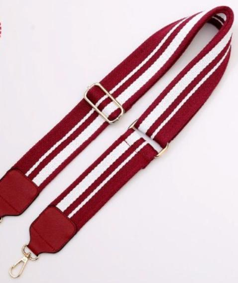 Clearly Handbags - Maroon Stripe Strap in Maroon/White