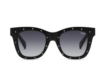 Quay Sunglasses - After Hours Rhinestone in Black Silver/Smoke Lens