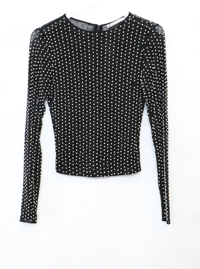 Alice + Olivia - Delaina Embroidered Long Sleeve Crewneck Top in Black/Multi