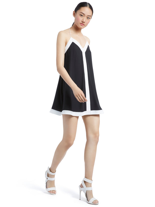 Alice + Olivia - Alexi Halter Swing Dress Black/Off White