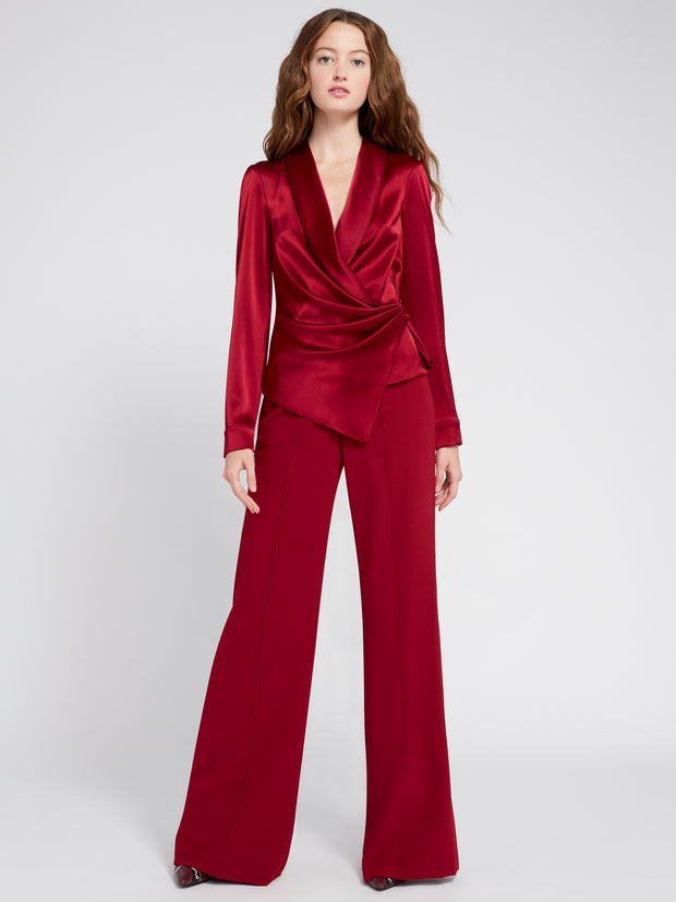 ALICE + OLIVIA - Aurora Dropshawl Collar Rollcuff Wrap Top Bordeaux