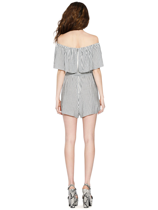 Alice & Olivia - Dory Off Shoulder Ruffle Romper Tie Belt