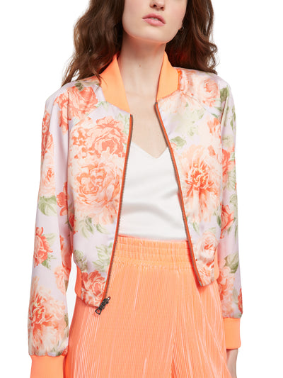 ALICE + OLIVIA - Duke Raglan Sleeve Crop Reversible Bmber in Neon Peach and Posy Garden Orchid