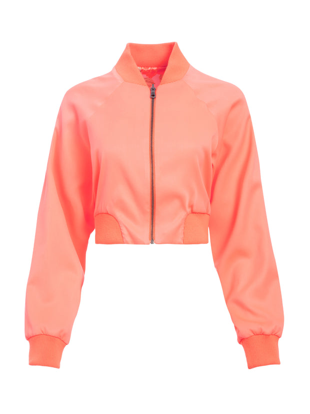 ALICE + OLIVIA - Duke Raglan Sleeve Crop Reversible Bomber in Neon Peach and Posy Garden Orchid