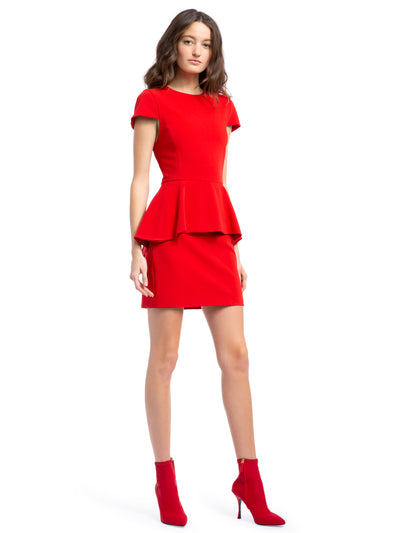 ALICE + OLIVIA - Ember Peplum Fitted Dress Cherry