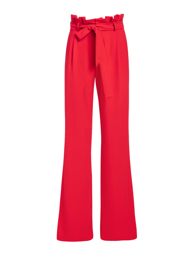 Alice + Olivia- Farrel Paper Bag Pleated Pants in Cherry