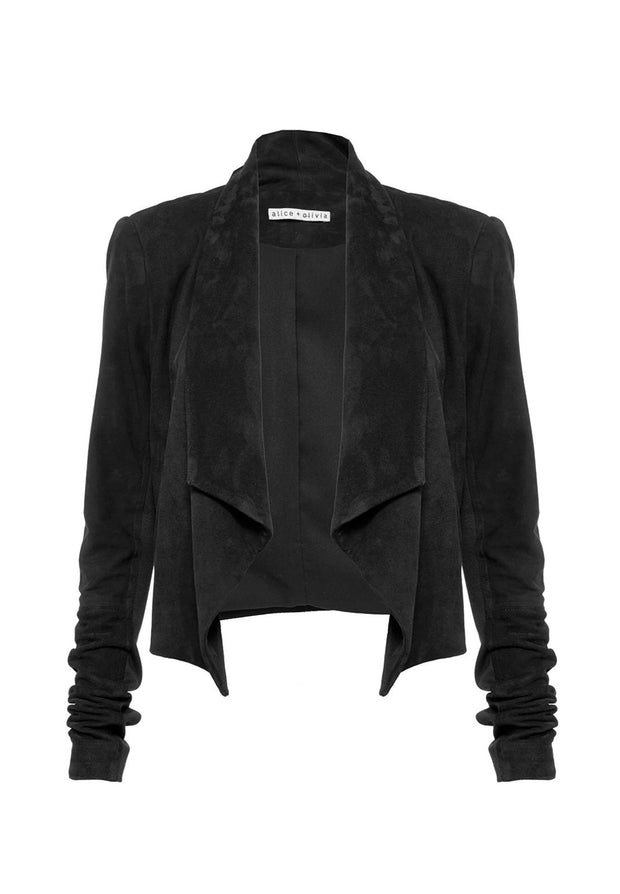 Alice + Olivia Harvey Suede Open Front Jacket at Blond Genius - 2