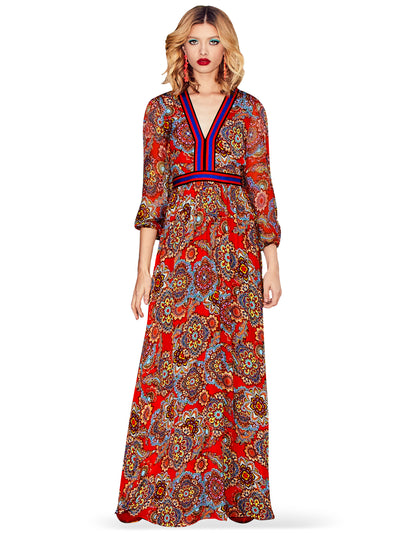 ALICE + OLIVIA - Jaida Ember Deep V Blouson Maxi Dress in Poppy/Multi