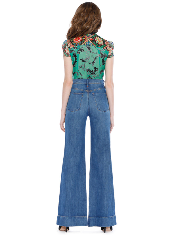 ALICE + OLIVIA - Jeannie Bow Cap Sleeve Buttondown
