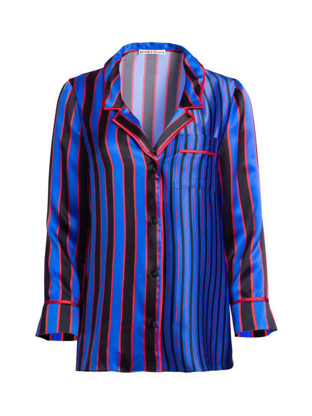 ALICE + OLIVIA - Keir Piped Pajama Top Tricolor Pinstripe