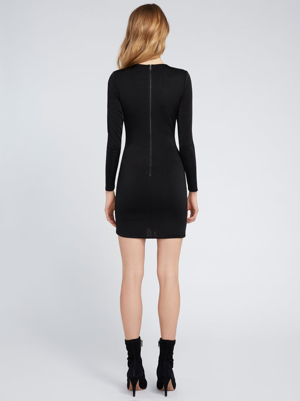 ALICE + OLIVIA - Kyra Deep V Drapey LS Mini Dress Black