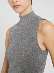 Alice + Olivia - Lanie Sleeveless High Neck Pullover Silver