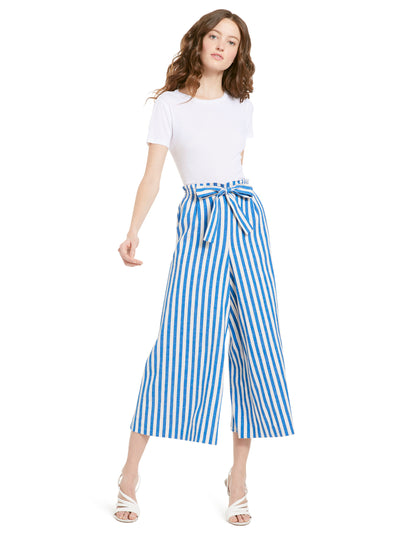 Alice + Olivia - Loni Smocked Gaucho Pant Imperial Blue/Cream Stripe