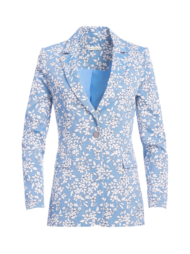 ALICE + OLIVIA - Macey Printed Notch Collar Blazer in Cornflower/White