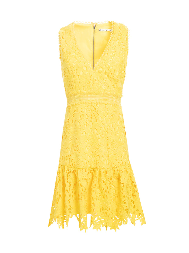 ALICE + OLIVIA - Marleen Gathered Fit Flare Dress in Sun