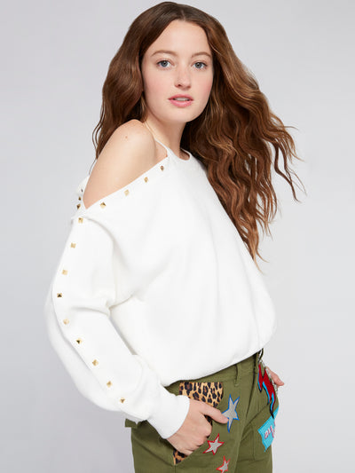 ALICE + OLIVIA - Michael Crewneck Pullover with Cut Shoulder Soft White/Gold