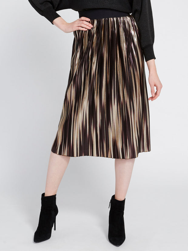 ALICE + OLIVIA- Mikaela Midlength Pleated Skirt Gold Multi