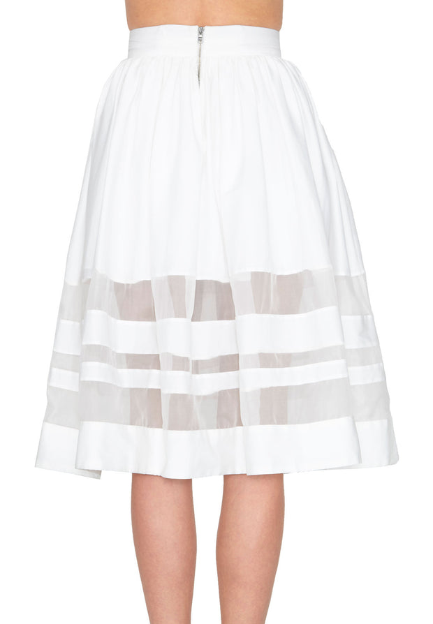 Alice + Olivia Misty Mid Length Sheer Combo Skirt at Blond Genius - 3